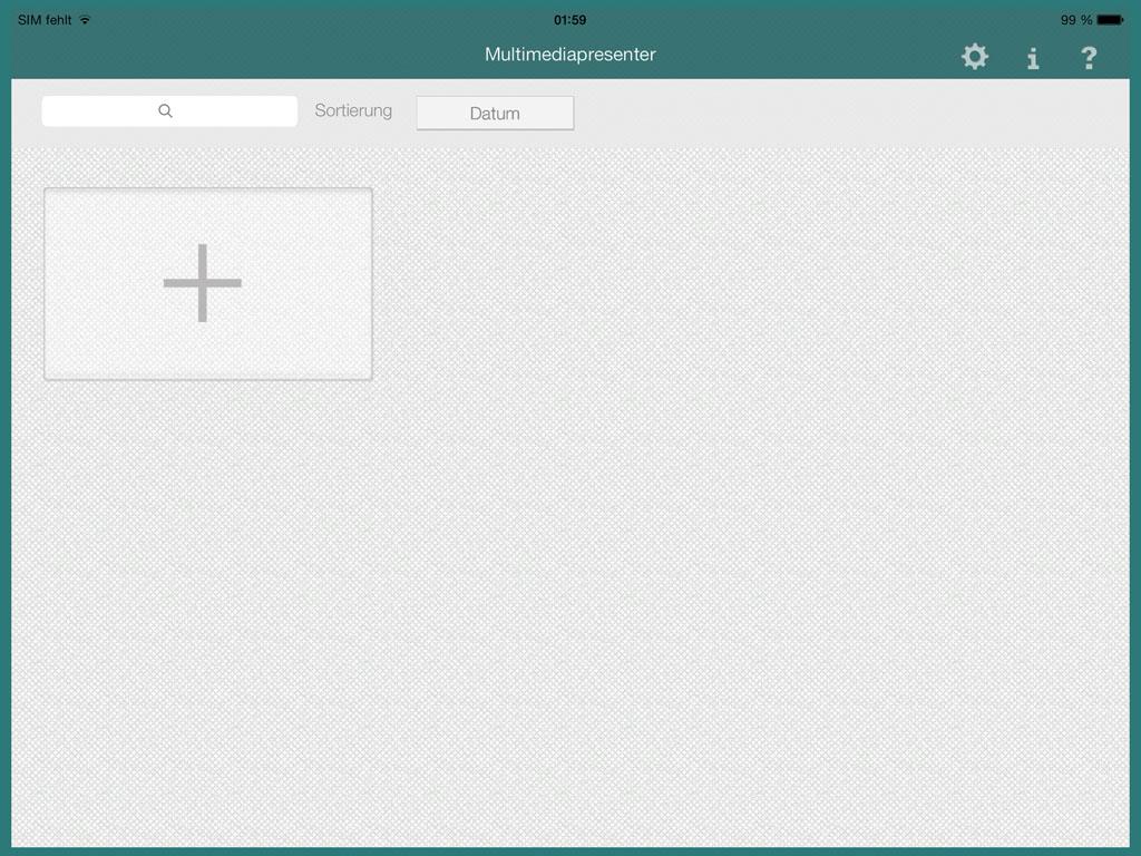 Der Startscreen des Multimediapresenters